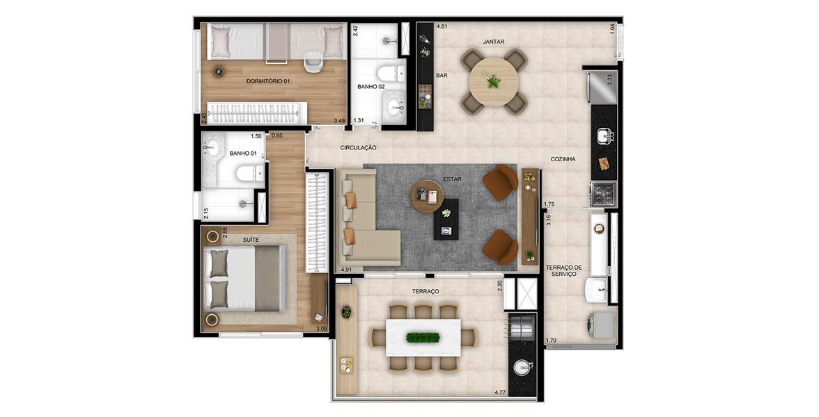 Planta Opção com Living Ampliado e 2 Dormitórios (1 Suíte) - Final 1 com 87m² do Next Astorga Condomínio Clube