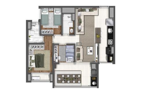 Planta de 78m² com 3 Dormitórios do Raízes Vila Prudente