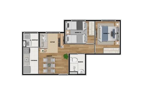 Opção 1 - Planta de 2 Dormitórios do Vibra Penha