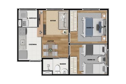 Opção 2 - Planta de 2 Dormitórios do Vibra Penha