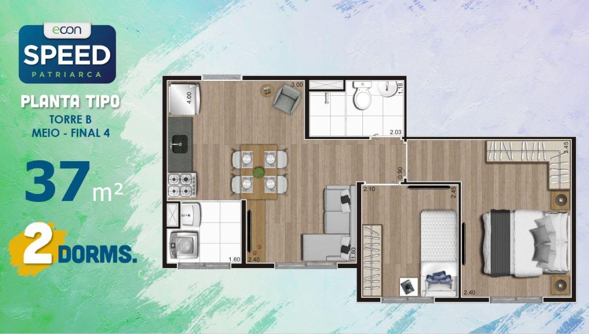 Opção 3 - Planta de 2 Dormitórios do Speed Patriarca