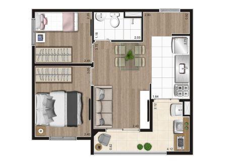 Opção 1 - Planta de 2 Dormitórios do MID Sabará