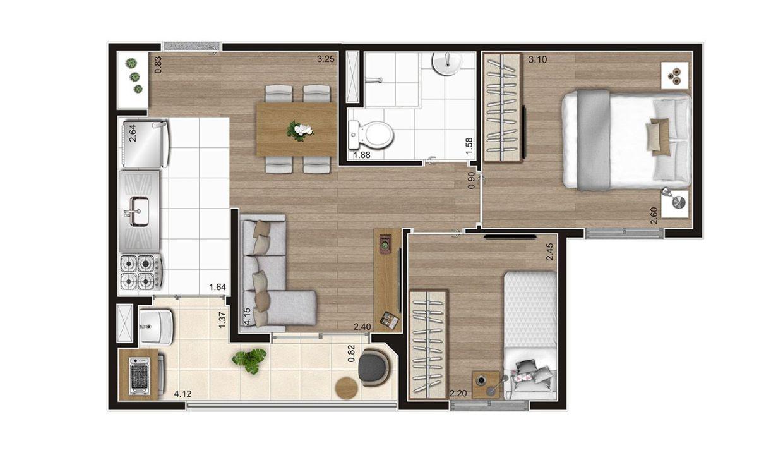 Opção 2 - Planta de 2 Dormitórios do MID Sabará