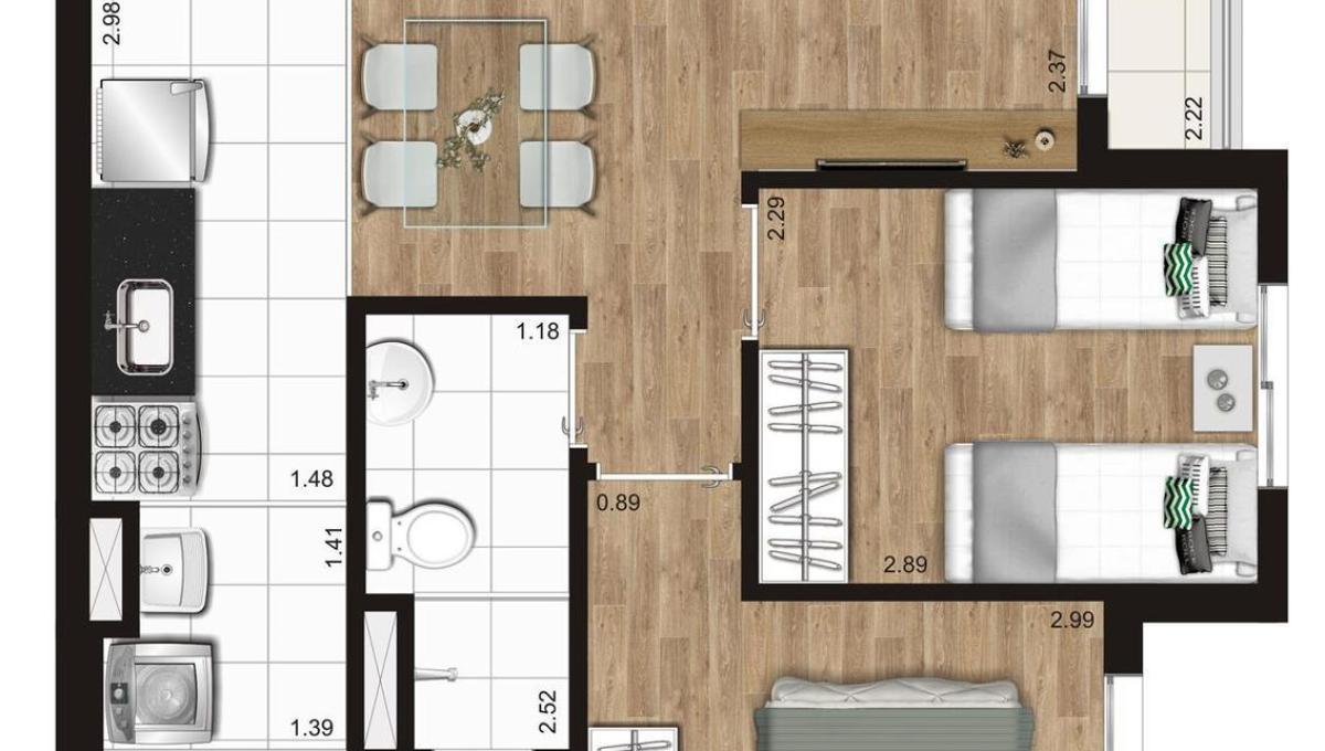 Opção 3 - 2 Dormitórios do KZ Radial