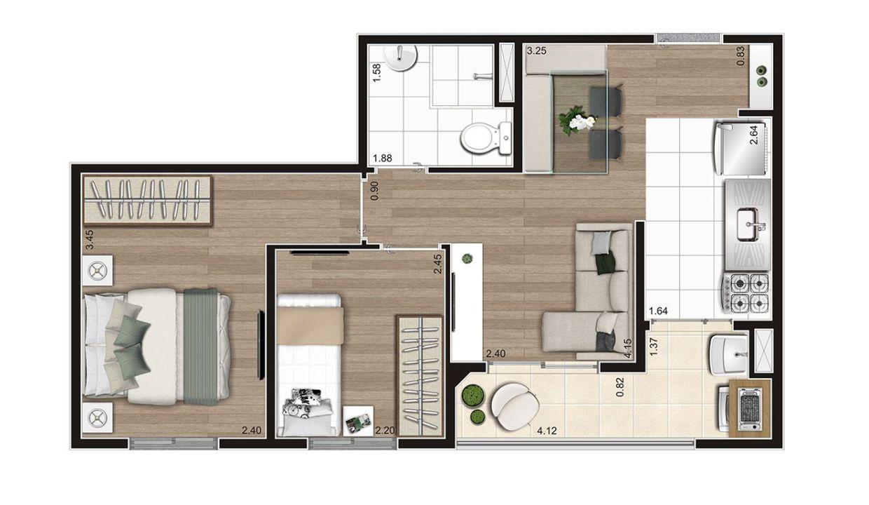 Opção 3 - Planta de 2 Dormitórios do MID Sabará