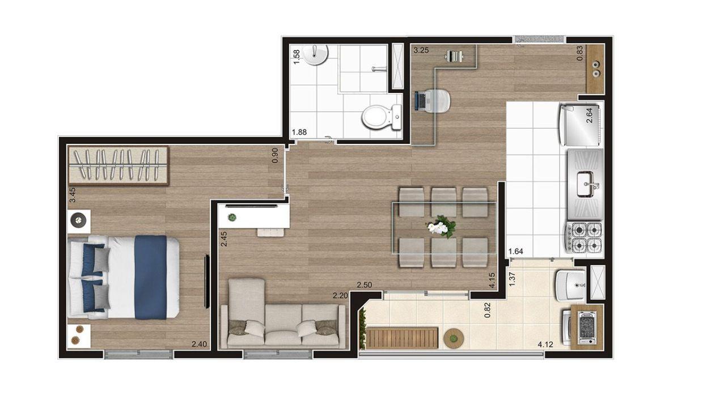 Opção 5 - Planta de 1 Dormitório do MID Sabará