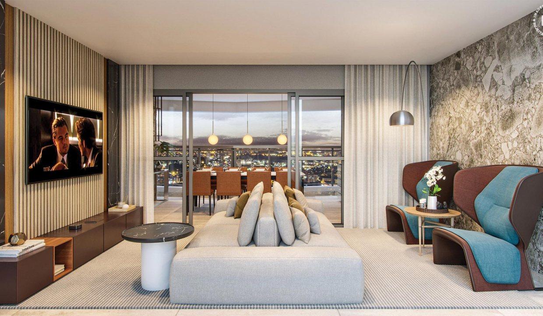 Perspectiva Ilustrada do living do apto. de 120 m² com sugestão de decoração – final 04 - Signature by Ott