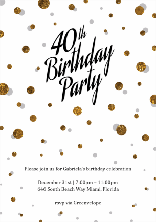 40th-extravaganza-invitations-gold-by Claudia Owen