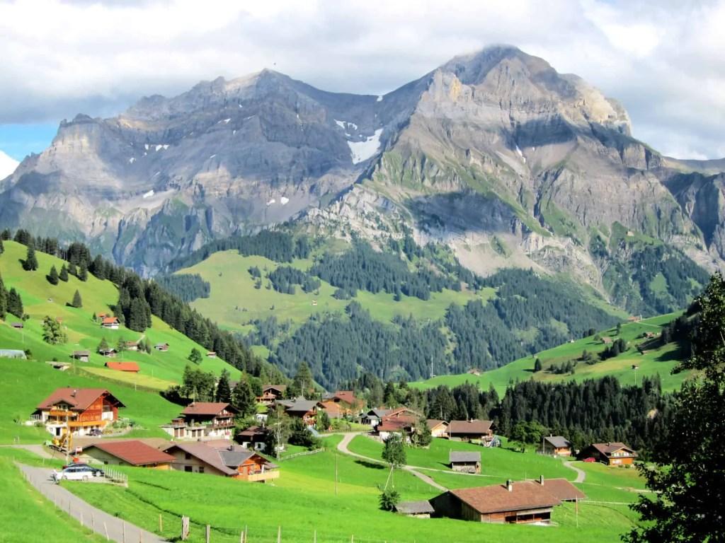 mountains in adelboden in summer