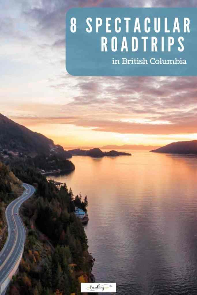 sea to sky highway road trip in bc at sunset