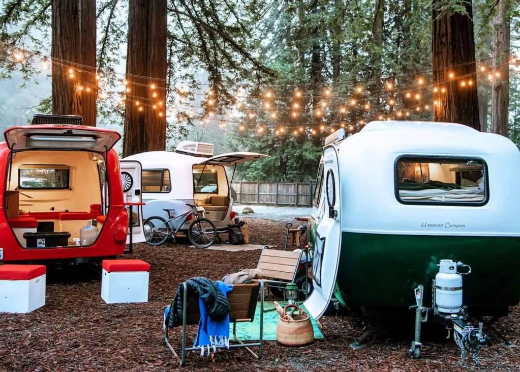 camper vans at campsite