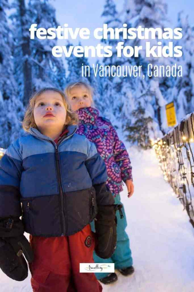 children outdoors in snow with lights at christmas