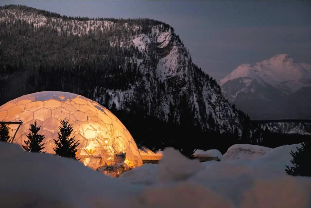 dining dome at night at banff springs hotel