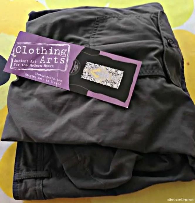 pair of folded Clothing Arts Pick-Pocket Proof pants