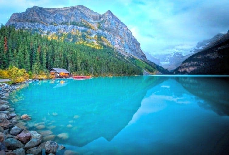 Lake Louise Boat House in summer