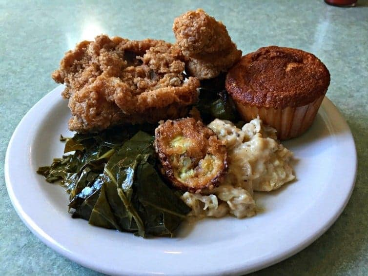 southern fried goodness plate of food in myrtle beach
