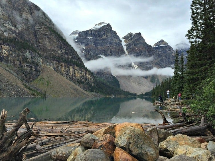 Moraine Lake with mist on mountains