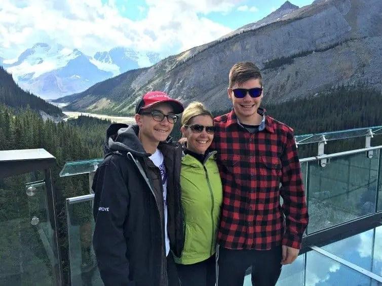 family enjoy views on Icefields Skywalk