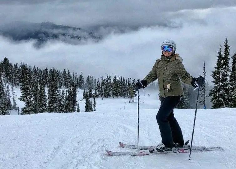 lady skiing at whistler