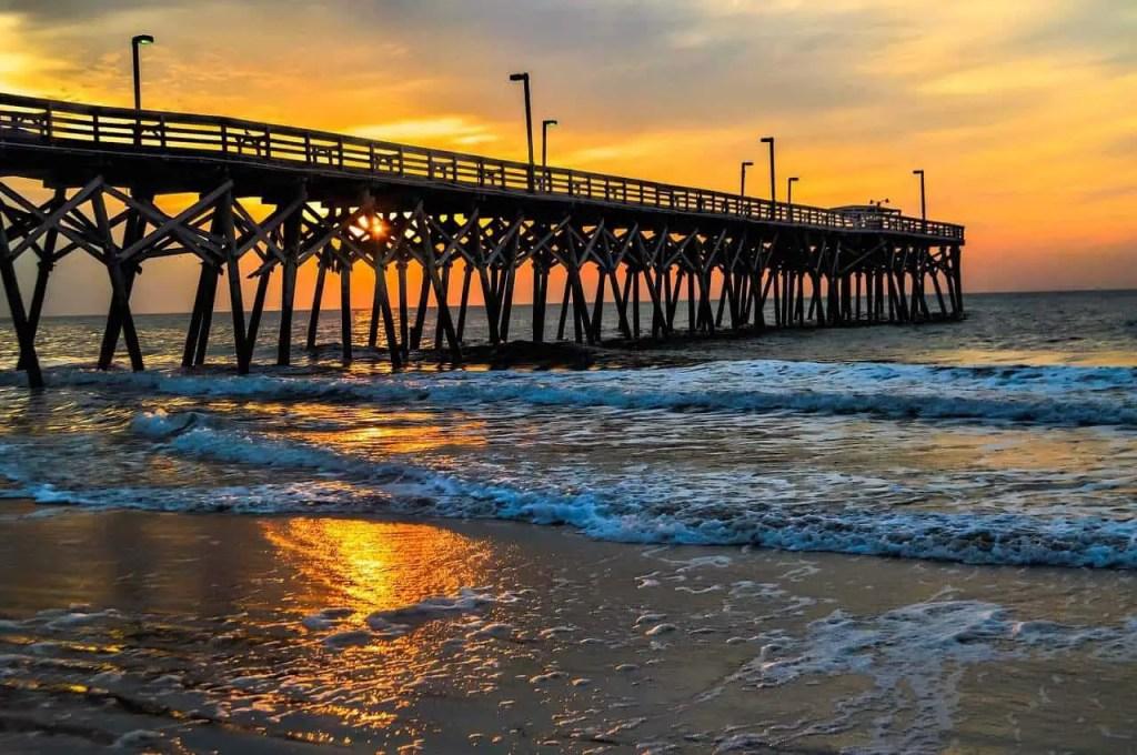myrtle beach pier at sunset