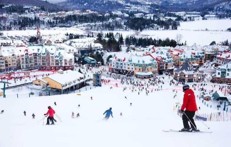 skiers on slopes of mont tremblant