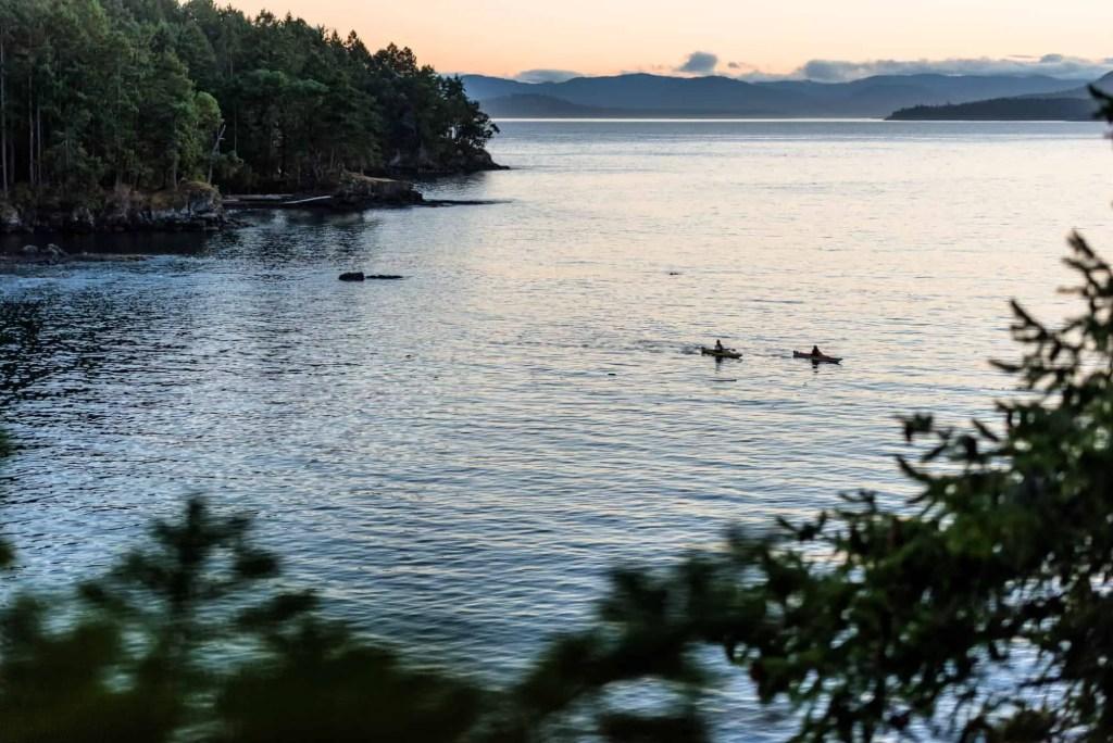 two people kayaking on pender island