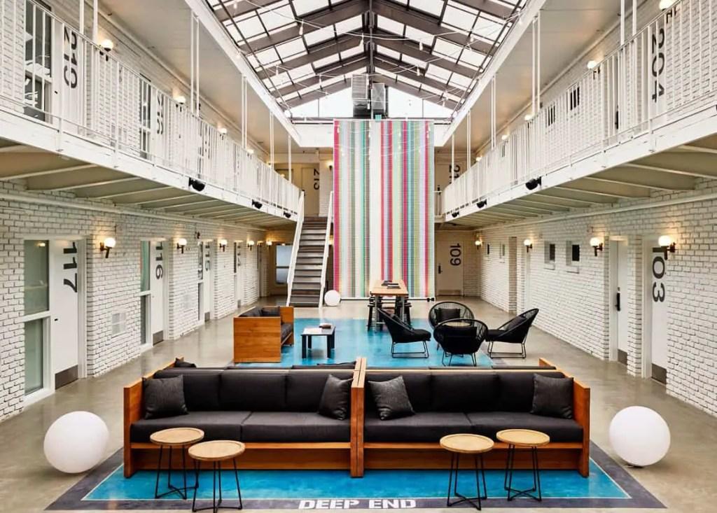 two story hotel lobby at spa city