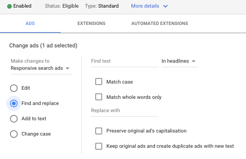 Edit Google Ads search and edit