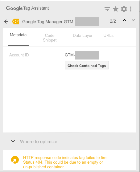 gtm error google tag assistant