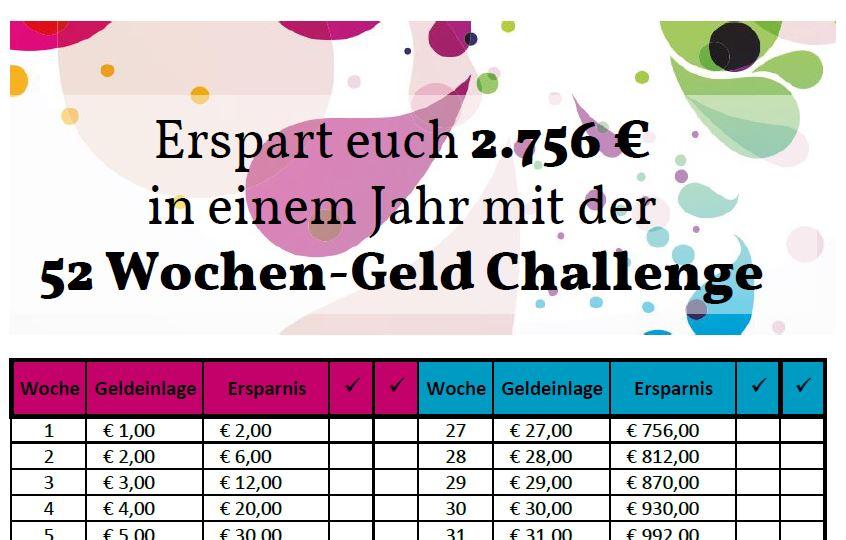 52-Wochen-Geld-Challenge-Pärchen-Partner-Vorlage zum Download by ...