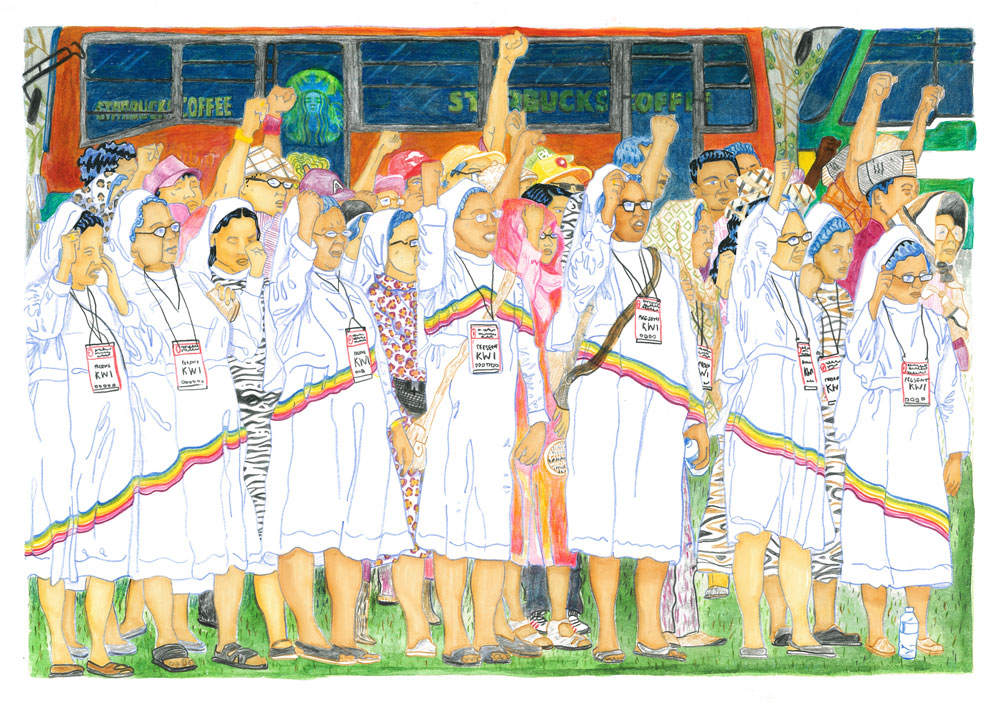 Indonesia - Unity in Diversity. Interfaith Demo after Terror Attacks on Starbucks, Jakarta 2016 (Colored Pencil and Watercolor)