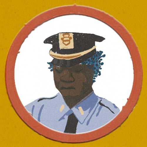 Claudie Linke Illustration_Police Men_New York Brooklyn red circle