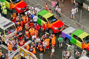 """Line-up of Holden """"Gay Pride"""" cars. Australian car manufacturer Holden [subsidiary of GM] supports legal equality for LGBT+ citizens."""