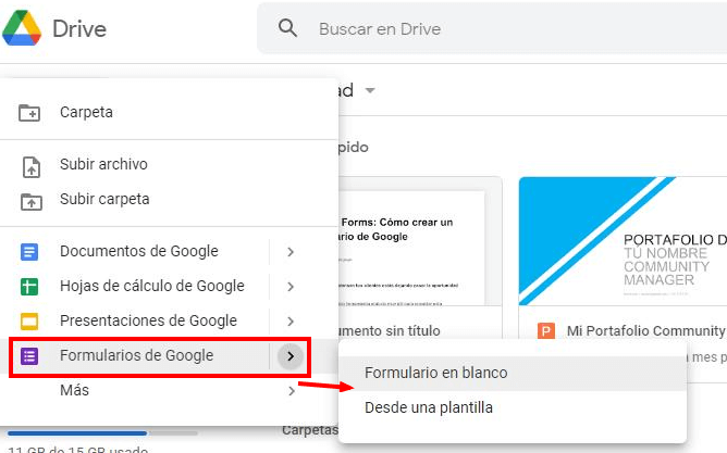 open the Google form in Drive