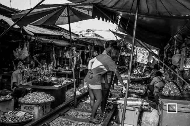 Maeklong Train Market Black and White-13