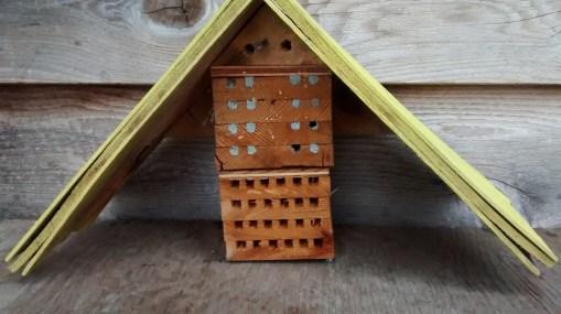 Mason bee house of holes...