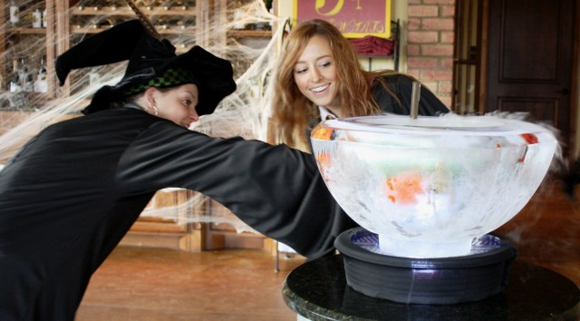 Women dressed as witches , standing over a potion at the Harry Potter themed Wine Tasting dinner at Clauren Ridge Vineyard and Winery.