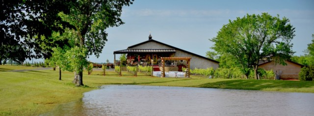 View of the winery from the other side of the pond.