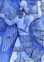 Enlil, irmão de Enki, manejando tridentes