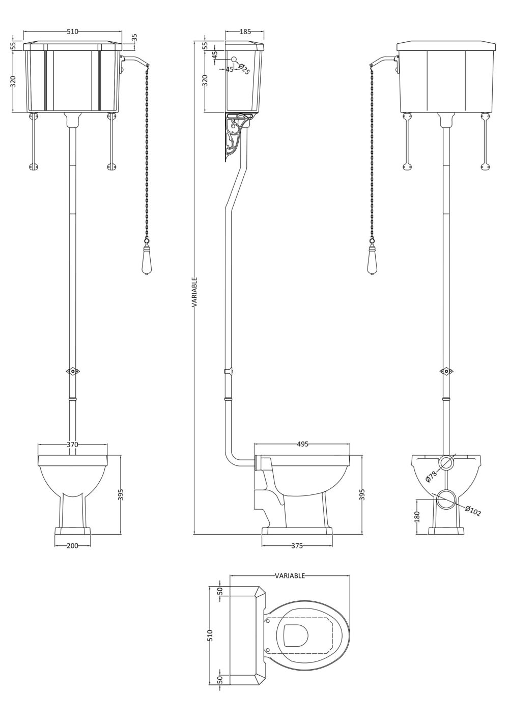 Hudson Reed High Level Cistern and Suite