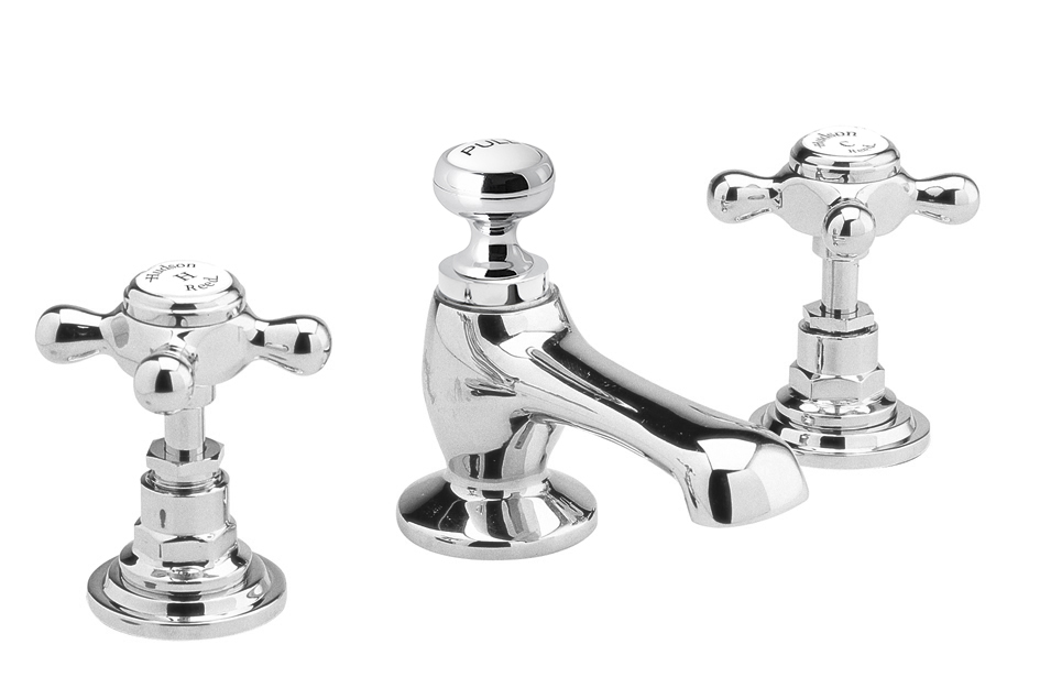 3 taphole vanity mixer with crossheads