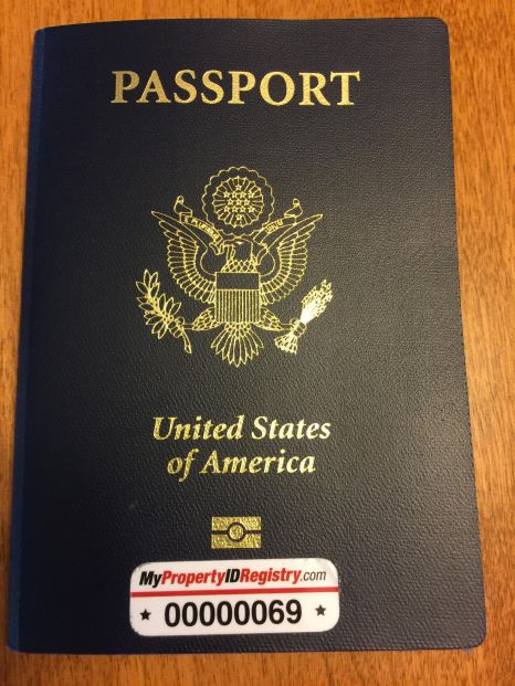 An example of where to place an asset tag on a passport.
