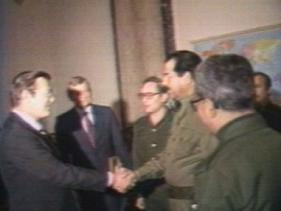 Donald Rumsfeld Meets Saddam Hussein In 1983