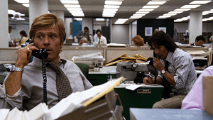 "Robert Redford and Dustin Hoffman in ""All the President's Men."""