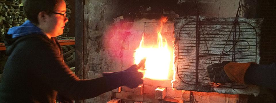 Post Bacc, Lalana Fedorshak, firing the wood kiln