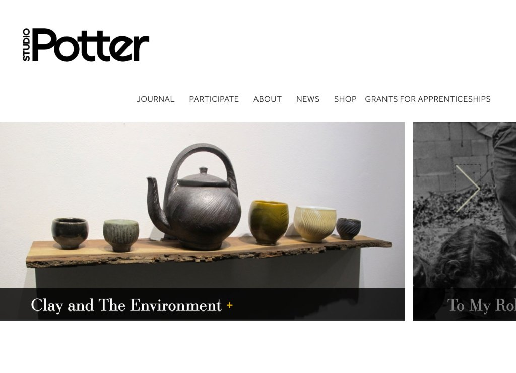 Studio Potter website screenshot
