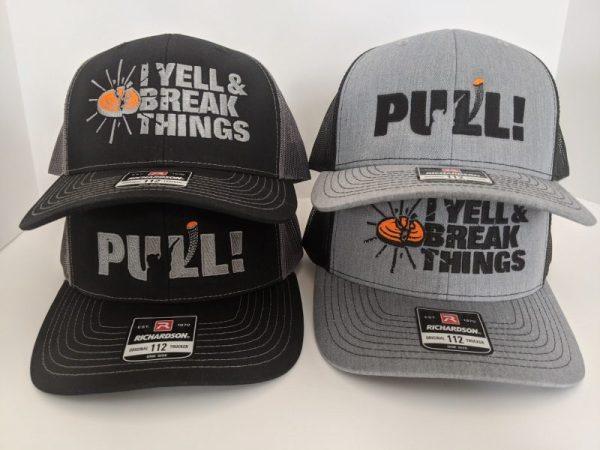 Cool Trap Shooting Hats - Custom Richardson Hats - PULL! - I YELL & BREAK THINGS