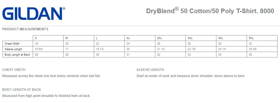 Gildan DryBlend T-Shirts Measurements Chart