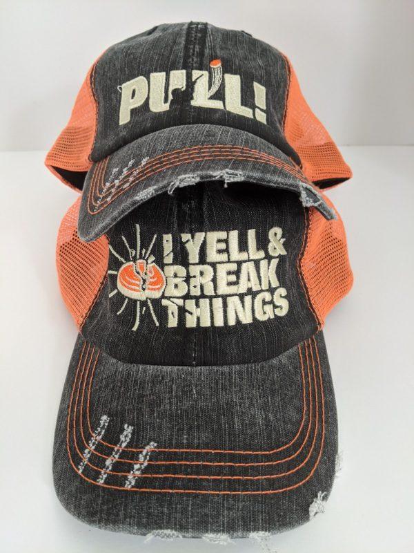 Skeet Shooting Hats - Orange & Black Hunting Caps - PULL! or I YELL & BREAK THINGS Design