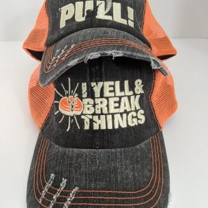 Skeet Shooting Hats - Orange & Black Hunting Caps - PULL! or I YELL & BREAK THINGS Design